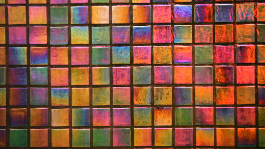 Beautiful And Colorful Shiny Square Tiles Background, Water Flow On Vivid  Shining Tile Texture,