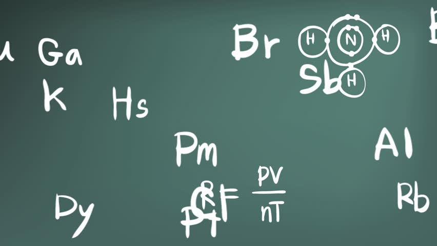 Animation of chemistry element in the periodic table theory animation of chemistry element in the periodic table theory formula bond and tool icon moving in doodle handwriting in blackboard background used for urtaz Image collections
