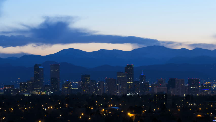 Denver Colorado USA sunset skyline skyscraper illuminated Downtown night dusk building city Urban valley Rockies mountain vacation travel time lapse