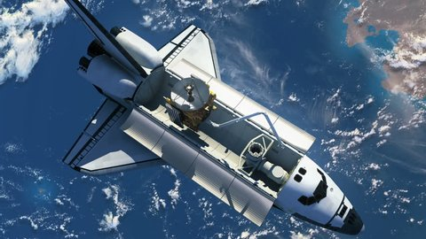 Space Shuttle Deploying Satellite. 3D Animation.