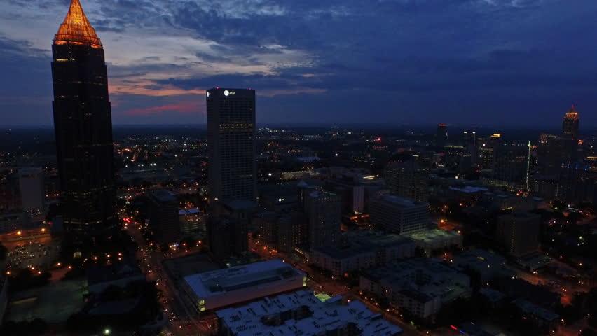 Atlanta Georgia. June 25th 2015. Aerial video of Atlanta Georgia at night.