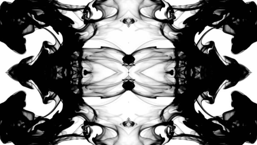 Black ink in water leaving screen like a disappearing Rorschach inkblot test, only moving gracefully and hypnotically,