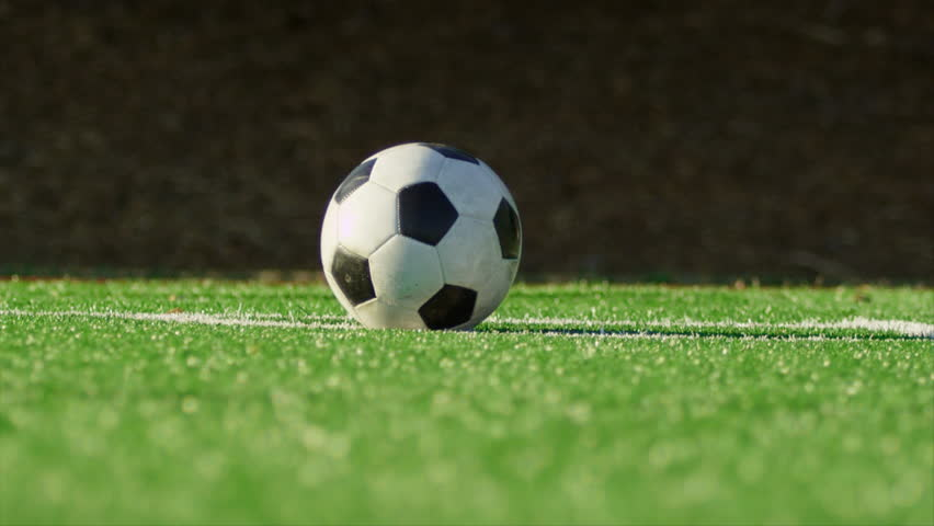 soccer ball on the green grass with slider stock footage