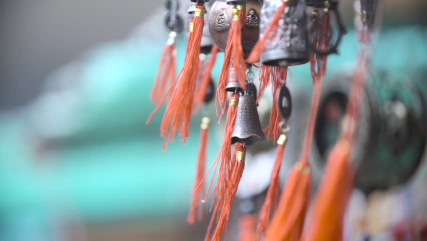 Bells in a temple in Hong Kong blowing gently in the wind. This footage was filmed at 240 frames per second and was finished to 24p.