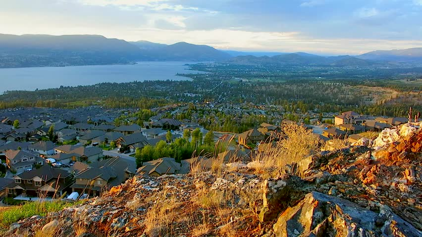 Mountain Summit View overlooking kelowna, BC, canada