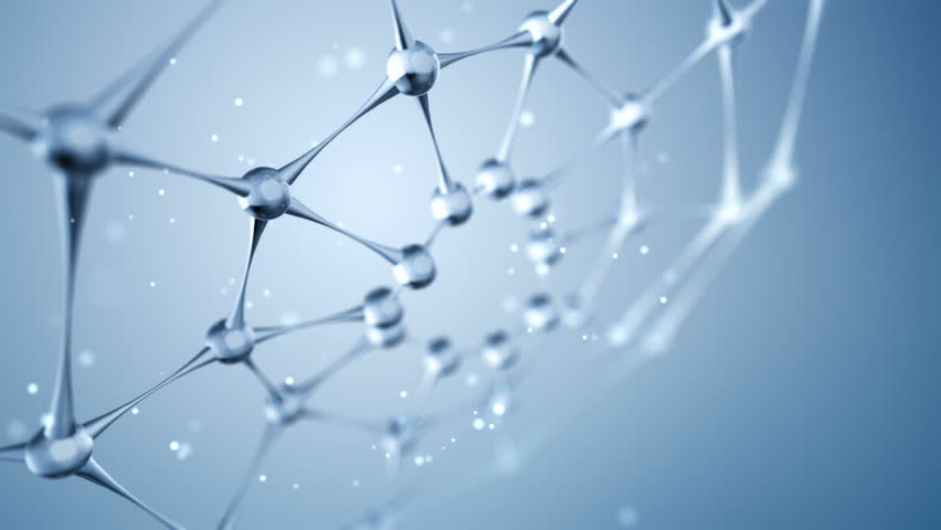 Animation slow moving of molecules or network from glass and crystal. Animation of seamless loop.