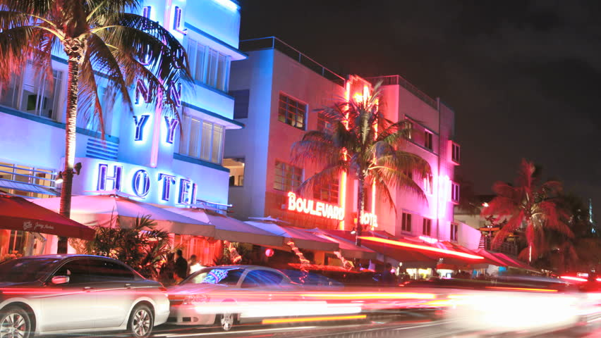 MIAMI BEACH, FLORIDA - JUNE 25: Cars pass through the Art Deco district on Ocean Drive in this timelapse view on June 25, 2011 in Miami Beach, Florida.