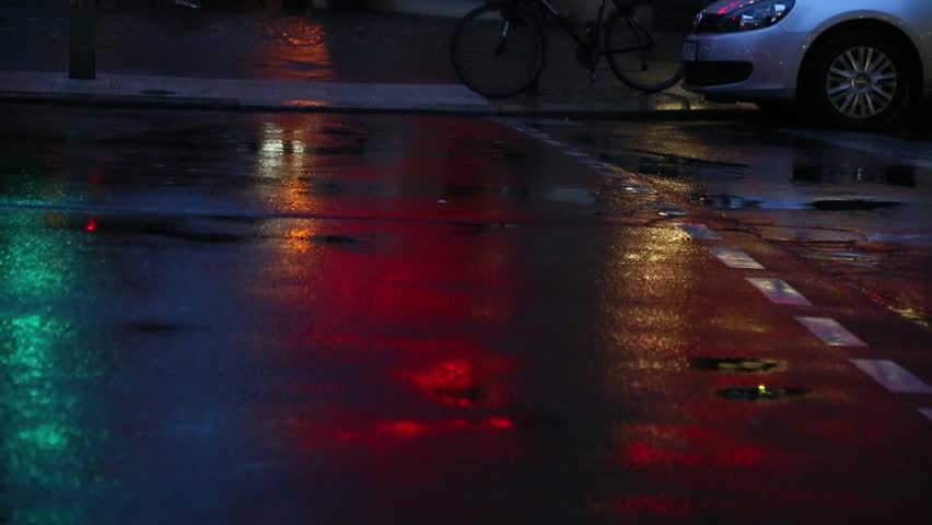Times Square On A Rainy Wet Night New York Stock Footage Video