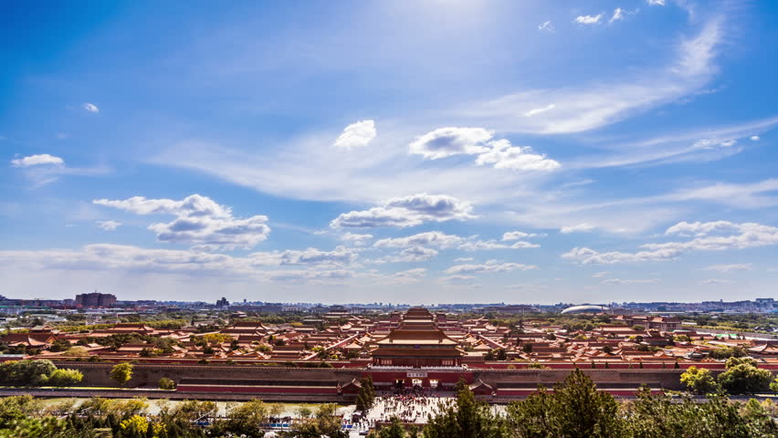The Forbidden City panorama,Beijing,China. Timelapse