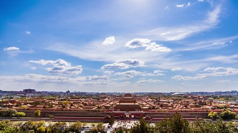 The Forbidden City panorama,Beijing,China. Timelapse