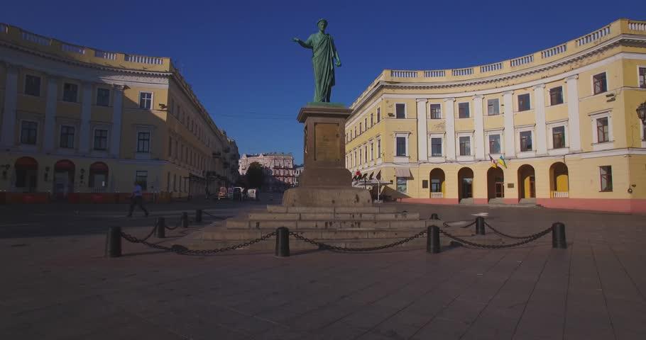 Duke de Richelieu monument in Odessa (Aerial). Duke de Richelieu monument  is one of the most famous symbols of Odessa, Ukraine