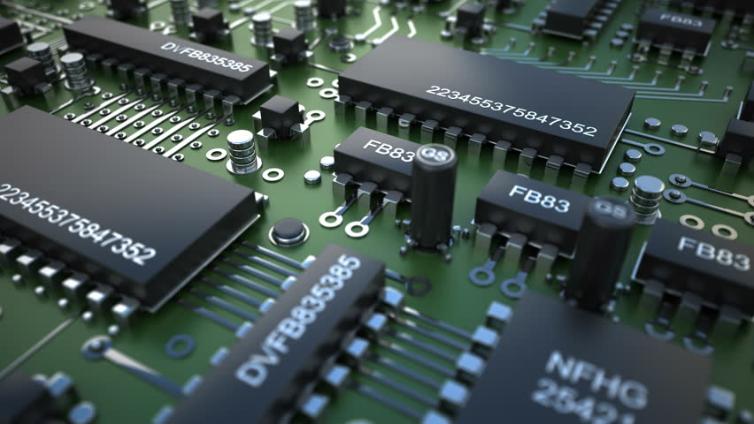 Close up Technology background. Electronic circuit chip on PC board. Rotation on 360 degrees (4k, 30fps, loop, 3d render) | Shutterstock HD Video #12422240