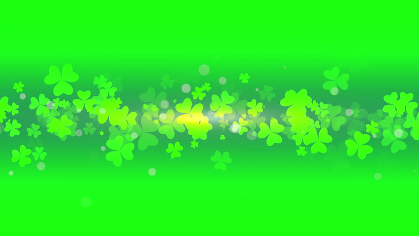 St. Patrick's animated clovers against a green and yellow vignette background. For use as a general backdrop, design element or as an overlay for placement of text or other copy.   Shutterstock HD Video #12460550
