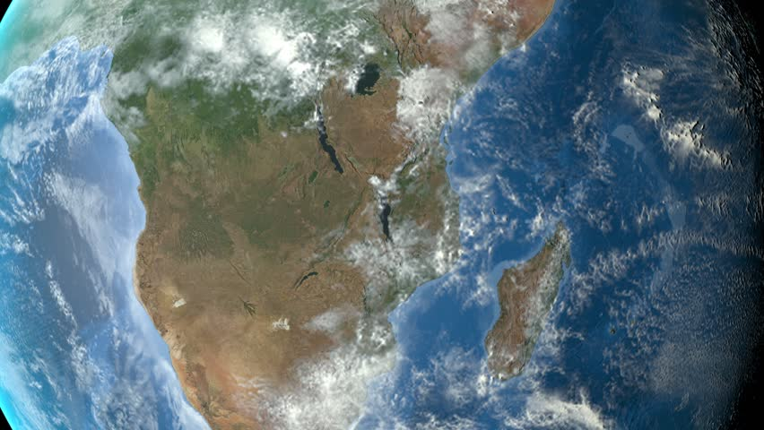 Zambia outlined zoomed on the rotating Earth. Satellite high resolution (86400 px) raster used. Elements of this image furnished by NASA. | Shutterstock HD Video #12473180