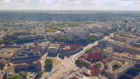Aerial panorama of Berlin street traffic on sunny summer day, timelapse