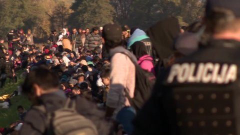 Sovenia builds a fence on Croatian border Soldiers it is accompanied by them the refugees, collection montage Into Slovenia daily cca 10000 refugees arrive.25.10.2015 Slovenia ;Brezice; Dobova
