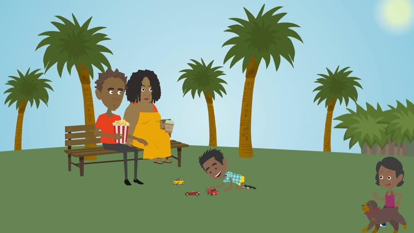 cartoon animation, people with dark skin,a family with children  resting, parents and 2 children,the girl jumps and plays with the dog,the boy playing toy cars, adults with children and a dog,