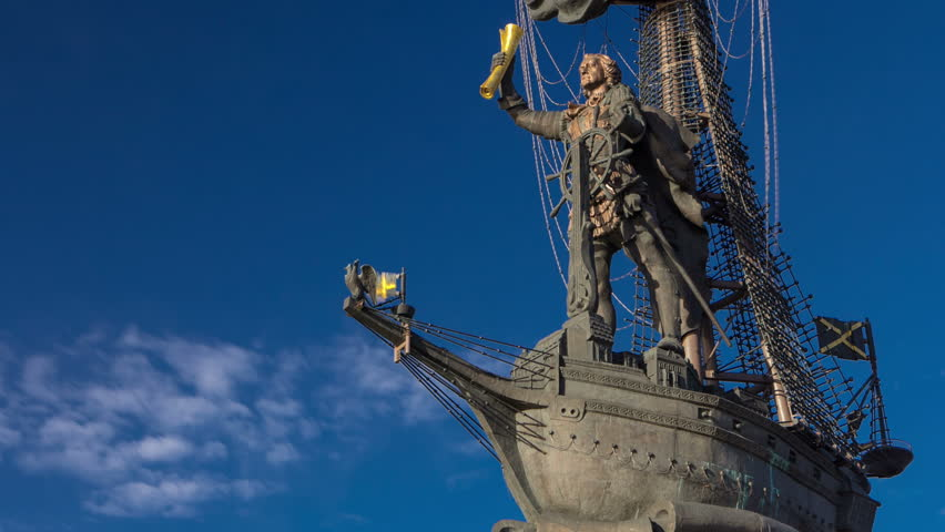 monument to Russian emperor Peter the Great, on background of blue sky. Timelapse hyperlapse day time, Moscow, Russia 4K