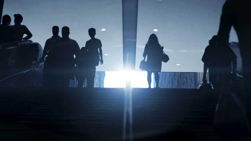 Busy city lifestyle background of people commuting to work. population growth concept | Shutterstock HD Video #12547280