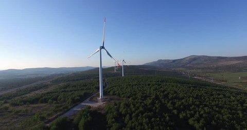 Aerial view of wind power generators in Croatia