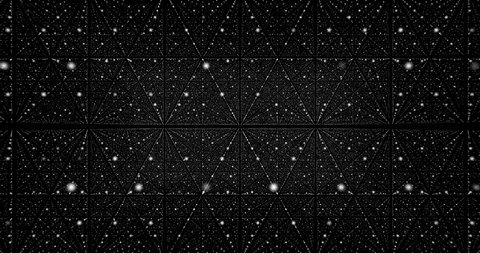 Moving through abstract fractal point matrix lattice. Fly into geometric point structure. 4k infinite space dynamic background. Regular structure transforms into chaotic.