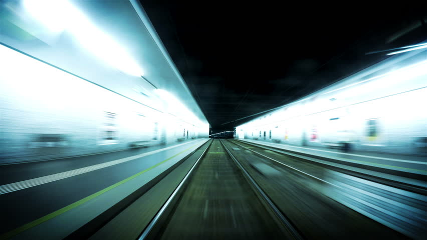 4K Futuristic footage of an underground tram in Vienna following its route | Shutterstock HD Video #12659300