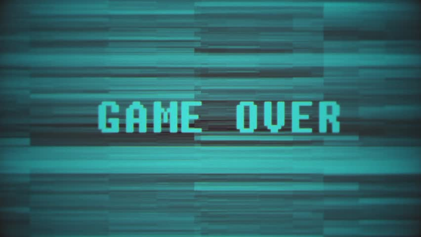 "Game Over Screen Glitch / Game Over / ""Game Over"" Text Glitching in screen / Digital video glitch matte 