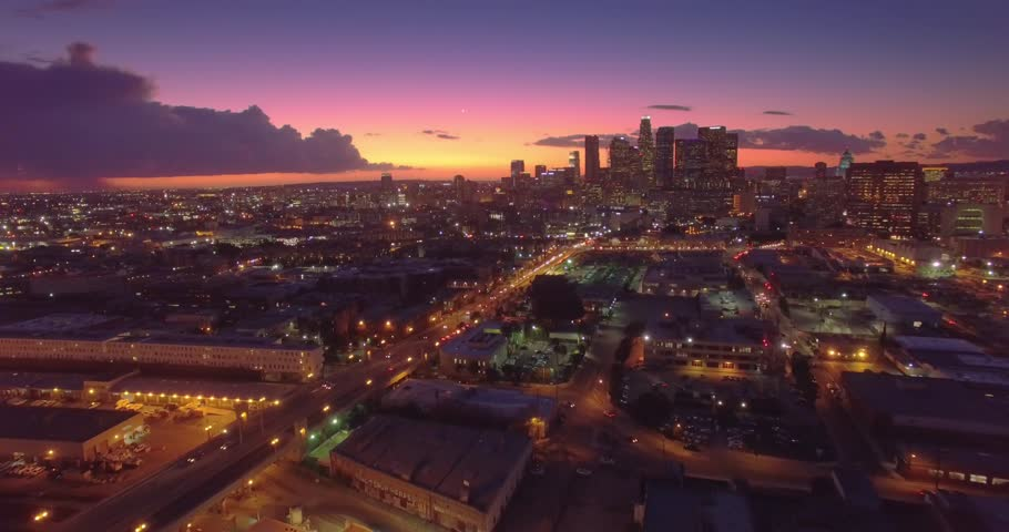 Aerial view of downtown of city of Los Angeles, scenic sunset. 4K UHD.