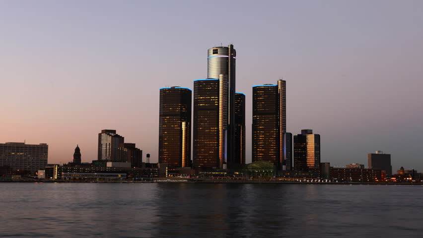 4K UltraHD Timelapse of the Detroit skyline from day to night