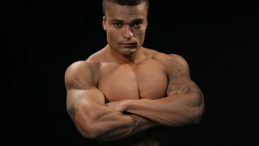 Attractive Hunky Black Male Bodybuilder Doing Bodybuilding Pose