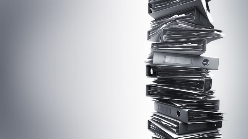 Office Binders Stack (Loop). Ring binders piled. Seamless loop.