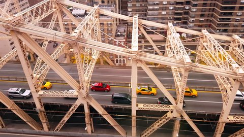 Aerial View of The Queensboro Bridge New York City  4k