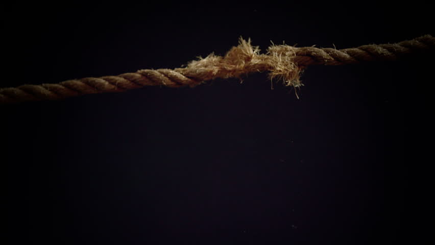 Tension of a Panic Attack Illustrated with Breaking Rope in Super Slow Motion