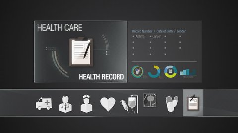 Health record icon for Health Care contents.Technology medical care service.Digital display application(included Alpha)