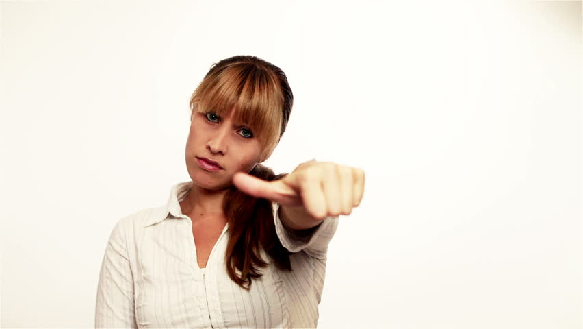 Attractive woman holding thumbs down and then up | Shutterstock HD Video #1277410