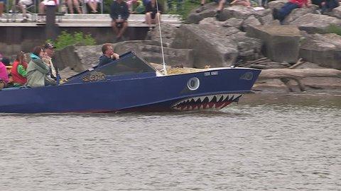Port Dover, Ontario, Canada July 2013 Canada day boat parade in Port Dover