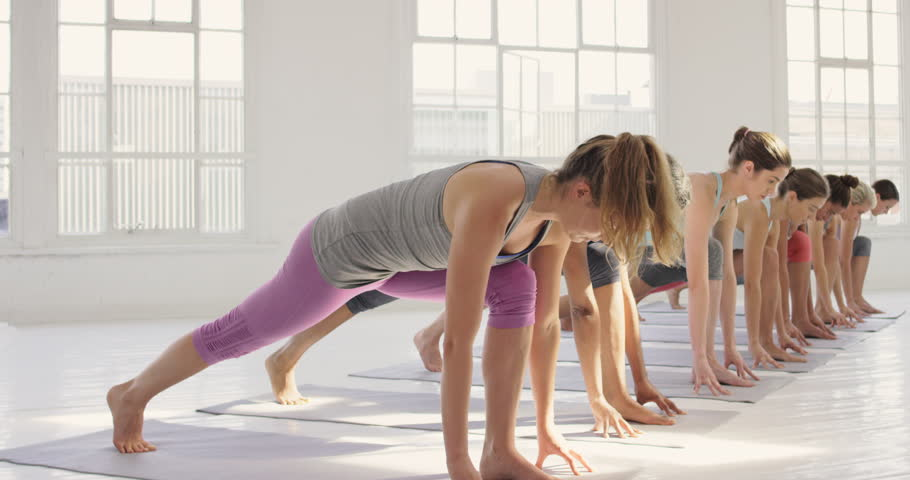 Yoga class multi racial group of women exercising healthy lifestyle in fitness studio yoga warrior poses