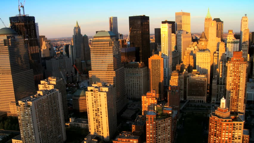 Aerial view of Manhattans Financial Business Quarter, at Sunset, New York City, North America, USA | Shutterstock HD Video #1279990