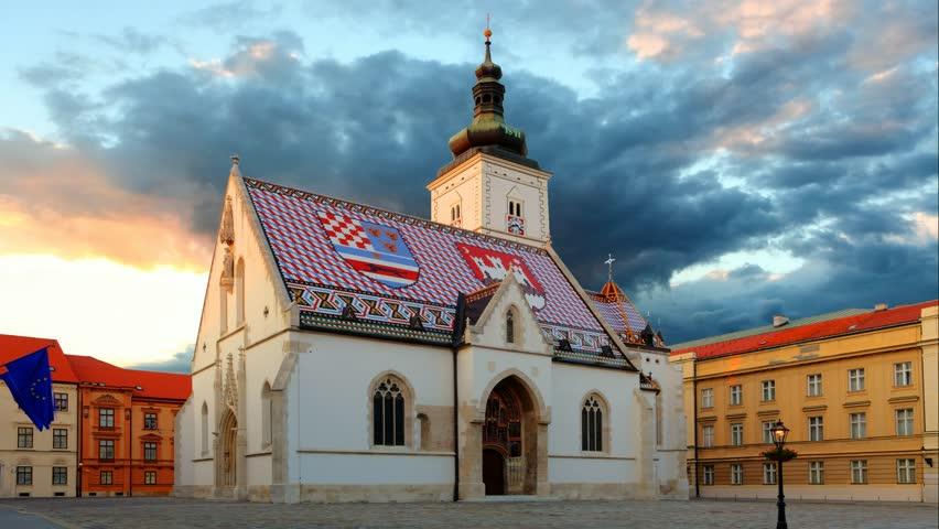Zagreb church - St Mark, Croatia Time lapse video at sunset