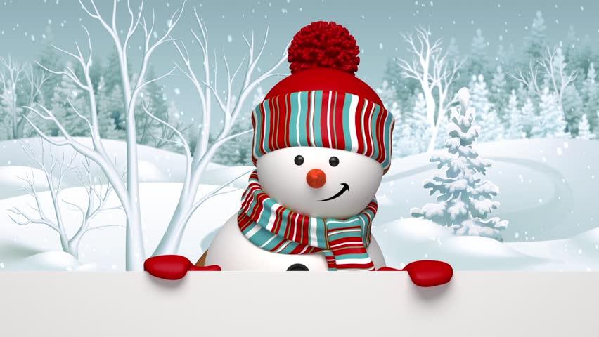 Snowman Waving Hand, Animated Greeting Card, Winter