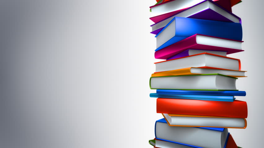 Colorful Books Stack (Loop). Colorful books piled. Seamless loop, with copy space.