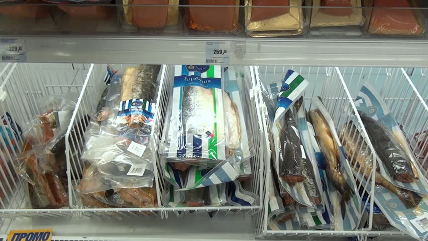 Frozen fish in the refrigerator in shops and supermarkets. | Shutterstock HD Video #12884444