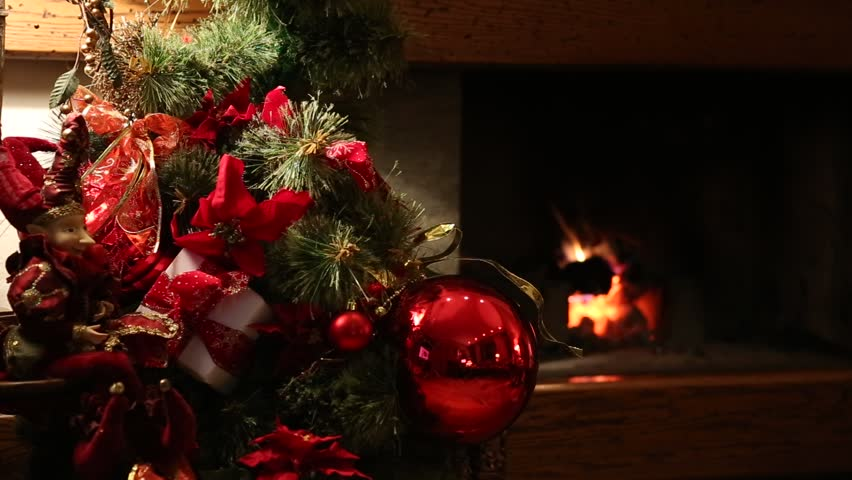 Nice Christmas Decorations christmas snack in front of the fireplace - video clip of nice