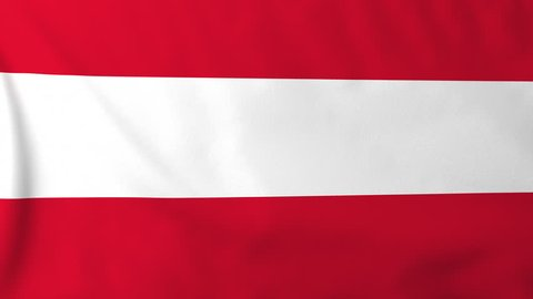 Flag of Austria, slow motion waving. Rendered using official design and colors. Highly detailed fabric texture. Seamless loop in full 4K resolution. ProRes 422 codec.