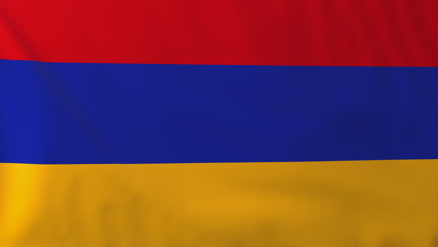 Flag of Armenia, slow motion waving. Rendered using official design and colors. Highly detailed fabric texture. Seamless loop in full 4K resolution. ProRes 422 codec.