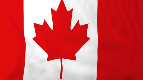 Flag of Canada, slow motion waving. Rendered using official design and colors. Highly detailed fabric texture. Seamless loop in full 4K resolution. ProRes 422 codec.