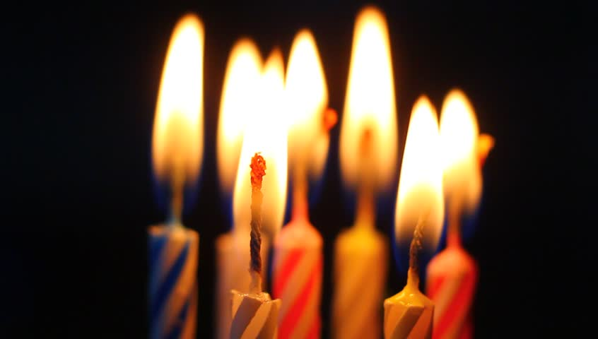 Birthday Candles Macro Clip In Flames Slowly Burning Down