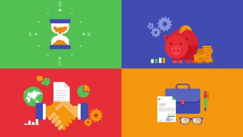 Business in out animated flat design icons set. Concept of money finance services, time saving, managing funds, partnership cooperation contract.