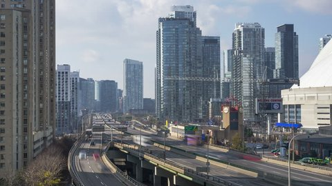 Toronto, ON, Canada - The Gardiner Expressway  4K Time lapse sequence shot downtown Toronto.