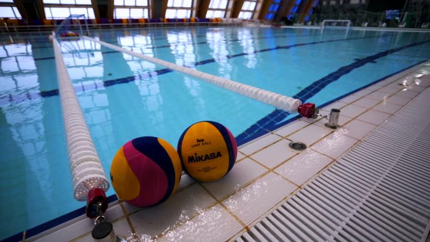 KAZAN, RUSSIA   27 JULY 2015: Water Polo Balls In A Swimming Pool Of